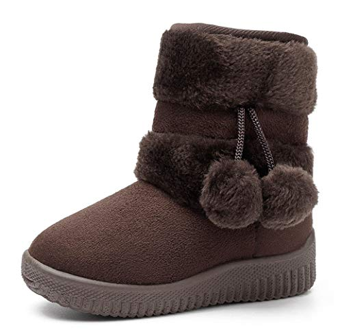 DADAWEN Baby's Girl's Cute Flat Shoes Pom Pom Winter Warm Snow Boots Coffee US Size 10 M Toddler(Toddler/Little Kid/Big Kid) -