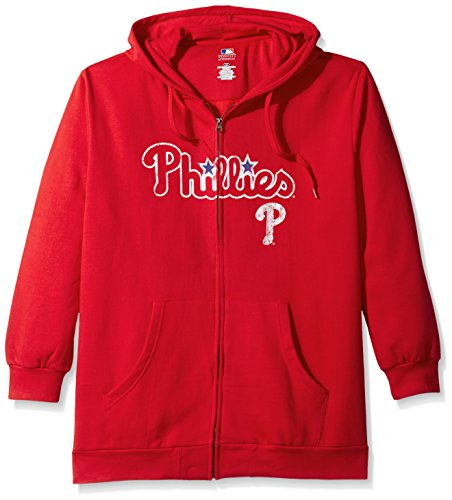 llies Women's Team Full Zip Fleece Hoodie with Distress Word Mark on Chest, 2X, Red (Wordmark Full Zip Hoodie)
