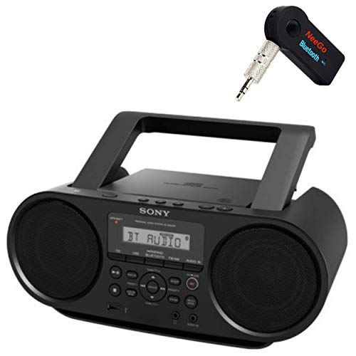 Sony Bluetooth Portable Cd Player Stereo Sound System Bundle/Digital Tuner AM/FM Radio Cd Player Mega Bass Reflex Stereo Sound System Included A NeeGo Wireless Bluetooth Receiver (Best Cd Player For Home)