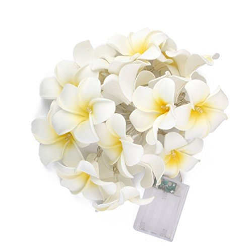WHOMEC Plumeria Flower String Lights 30 LED 10.5 Feet/3.2 Meter Battery Powered Fairy Lights Waterproof Indoor Outdoor for Restaurants Bar Decorations Home Garden Wedding Birthday -