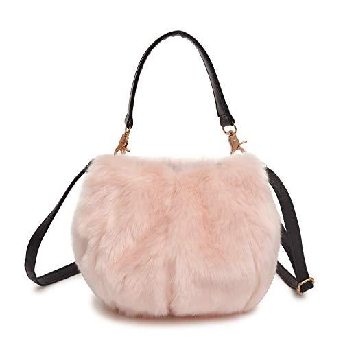 QTMY Faux Fur Tote Crossbody Bag Purse Handbag for Women - Womens Fur Handbag