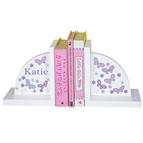 - MyBambino Personalized Lavender Butterfly Bookends for Girls