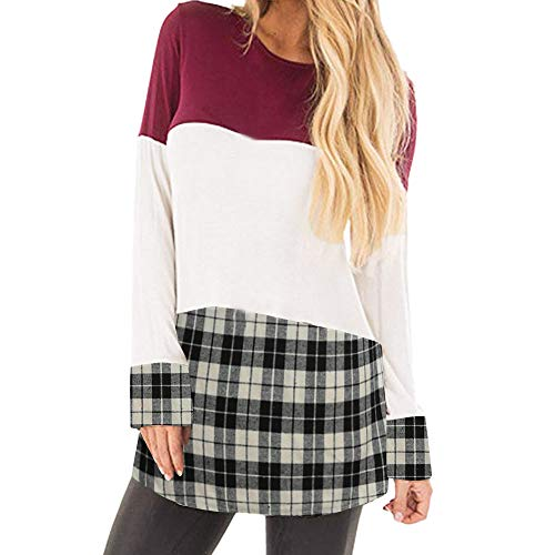 GOVOW Autumn Patchwork Striped Shirt Women Casual Plaid Long Sleeve Tunic Tops Blouse(US:12/CN:XL,Red)