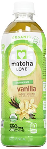 Matcha Love Organic Matcha and Green Tea, Vanilla, 16.9 Ounce (Pack of 12), Unsweetened, Zero Calories, No Sugar or Artificial Sweeteners, USDA Certified Organic, Caffeinated