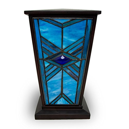 Mission Style Stained Glass Cremation Urn - Large - Holds Up to 200 Cubic Inches of Ashes - Blue Memorial Urns for Ashes - Engraving Sold Separately