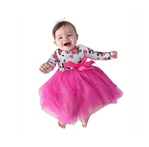 (Kehen Long Sleeve Party Dress for Newborn Baby Girl Floral Printing Lace Tutu Dress (18/24M, Pink))