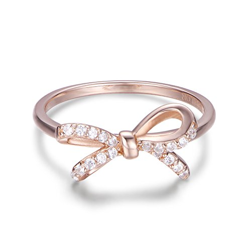 925 Sterling Silver Ribbon Bow Stud Ring With Cubic Zirconia Jewelry meaningful Gifts for Women (8) (Sterling Bow Ring)