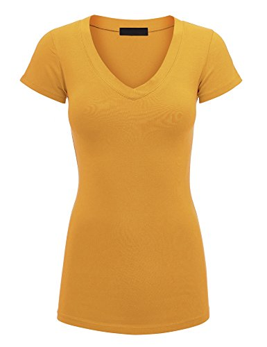 Lock and Love WT1606 Womens Basic Fitted Short Sleeve V-Neck T Shirt S Mustard