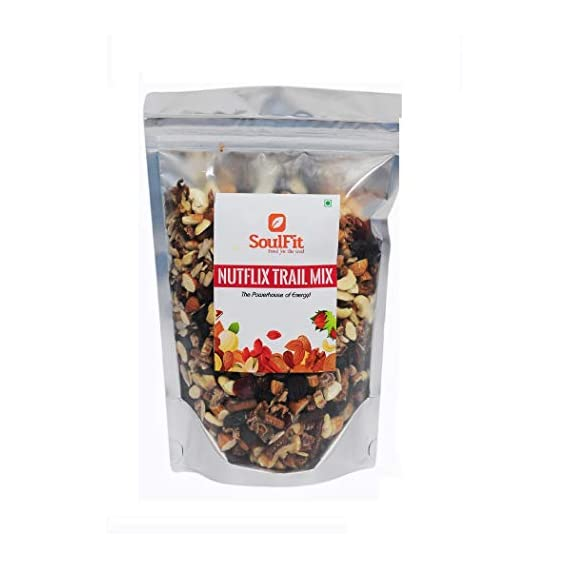 Soulfit Nutflix Enrich Trail Mix Super Food Immunity Booster Snack Pouch | Mixed Nuts | Health Mix | Cereal Topper | Nuts Seeds & Berries | Natural & Chemical Free Unsweetened Dry Fruits - 400g