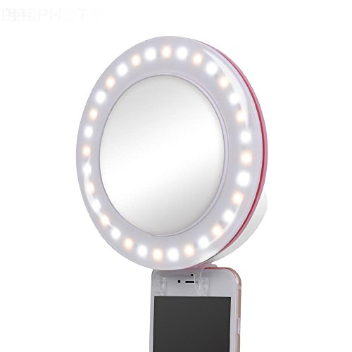 EXMAX Photo Shoot Selfie Ring Light Clip 3200K-5600K for iPhone iPad and Other Smartphones [Portable] Girl Night Light [32 LED Light Bulbs]for Perfect Face Slimming Brightness-White by EXMAX