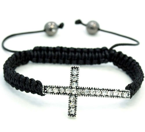 - PJewelry Clear w/Silver Crystal Cross Adjustable From 6.5