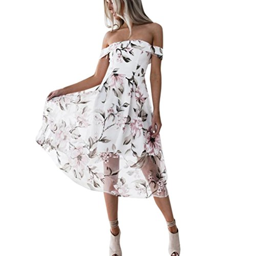 kaifongfu Women Dresses,Summer Off Shoulder Dresses For Girl Floral Flower Printed Long Maxi Dress (S, (One Button Print Skirt)