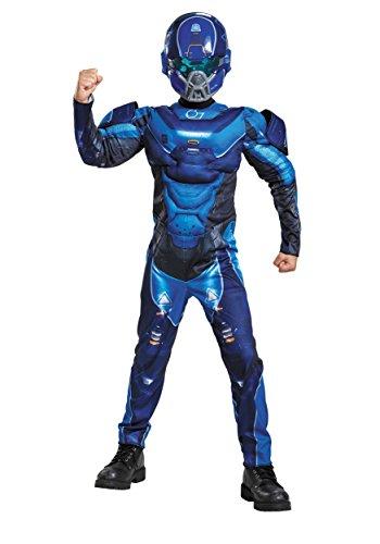 Microsoft Costume (Blue Spartan Classic Muscle Halo Microsoft Costume, Medium/7-8)