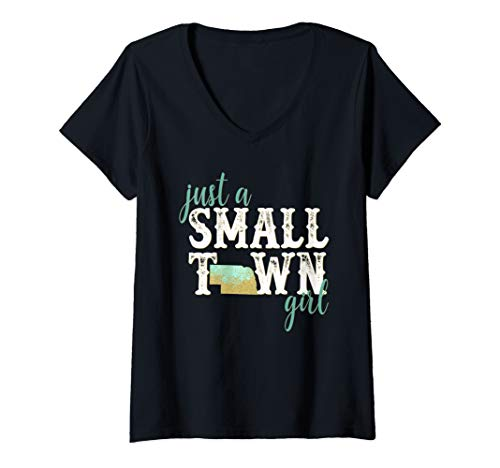 (Womens Nebraska Small Town Girl Sexy Hometown State Roots Home V-Neck T-Shirt)
