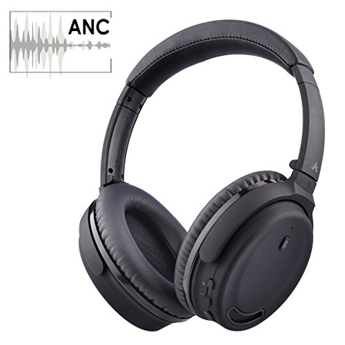 Avantree Active Noise Cancelling Bluetooth 4.1 Headphones with Mic, Wireless/Wired Super Comfortable Foldable Stereo ANC Over Ear Headset, Low Latency for TV PC Gaming Phone - ANC032 [24M Warranty] - Blk Noise Canceling Headphone