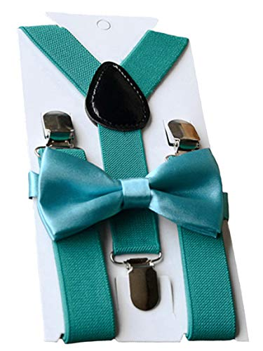 UDRES Unisex Kid Boys Girls Adjustable Bow tie & Suspender Sets (One Size, Teal)