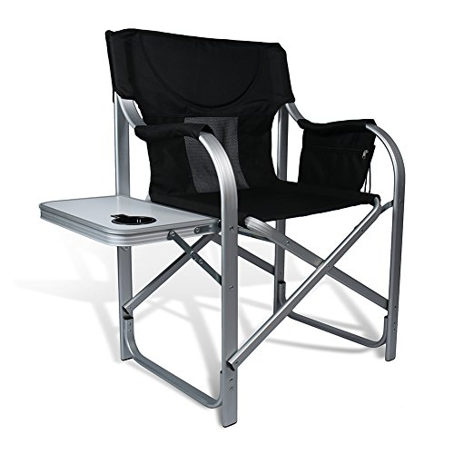 High Comfort Padding Director Aluminum Folding Chair with Armrest Cup Holder by J&D Outdoor Depot