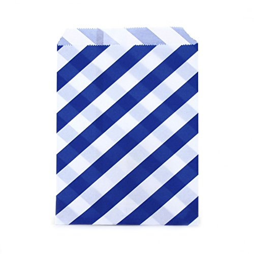 Dress My Cupcake 24-Pack Party Favor Bags, Striped, Cobalt Blue ()