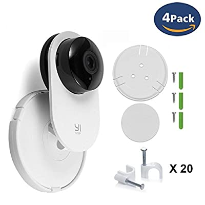 CloverTale Yi Home Camera Wall Mount Stand Bracket for Yi Home Security Camera 360 degree swivel, full install kit with Wire Clips (4 pack)