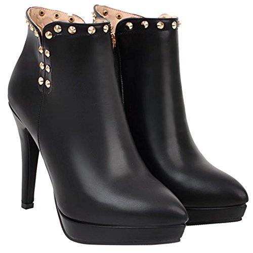 AIYOUMEI Damen Herbst Winter Stiletto Stiefeletten mit Nieten und 11cm Absatz Elegant Party Stiefel 3QkdL7gNmg