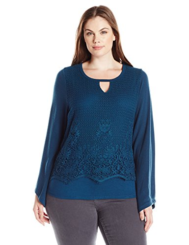 Democracy Women's Plus Size Long Sleeve Crochet Overlay Top with Keyhole, Dark Arctic Teal, 2X