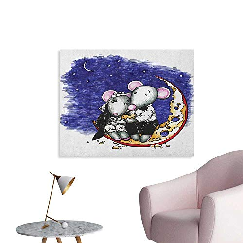 Animal Wall Sticker Decals Mouse Couple Sitting on The Cheese Flavoured Moon Bride and Groom Love Valentines Art Custom Poster Multi W36 -