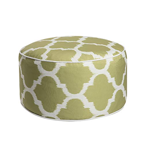 (Art Leon Outdoor Inflatable Ottoman Grass Green Round Patio Footstool for Kids and Adults, Patio, Deck, Front Porch, Backyard,)