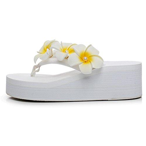 Tela De Algodón Fereshte Para Mujer Flor Flipflops Plataforma Ligera Sandalias De Playa 1453-blanco