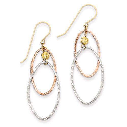 Tri-color Diamond-cut Open Double Oval Dangle Earrings in 14k Gold