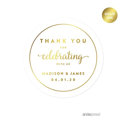 (Andaz Press Personalized Round Circle Wedding Favor Gift Labels Stickers, Metallic Gold Ink, Thank You for Celebrating with US, 40-Pack, Custom Made Any Name)