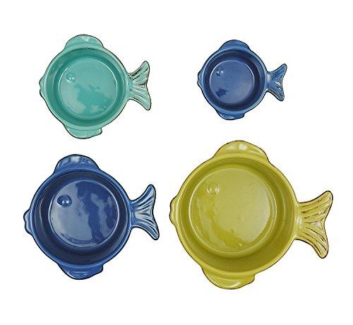 Creative Co-Op Stoneware Fish Measuring Cup Set, Multicolor