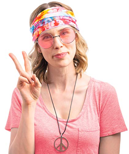 Woman's Hippie Costume Set. Halloween 70s Costumes for Women to Make You The Hit of The Party Pink ()