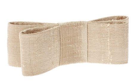 L. Erickson USA Wide Couture Bow Barrette - Silk Dupioni Cement
