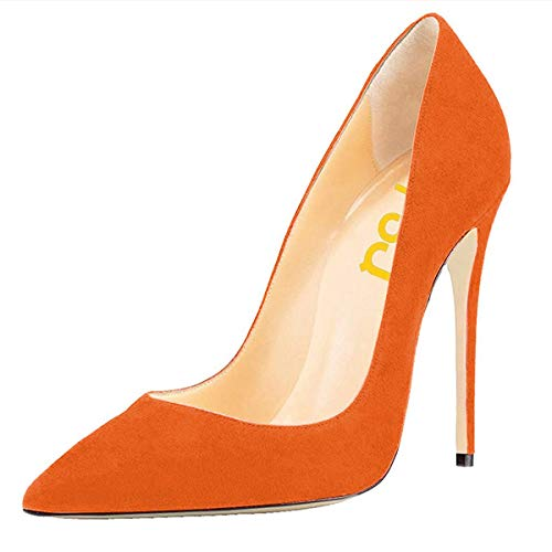 FSJ Women Sexy Suede Pointed Toe Pumps 12 cm High Heels Stilettos Prom Shoes Size 9 Orange ()