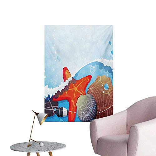 Anzhutwelve Starfish Wallpaper Foaming Ocean Waves Graphic with Scallops and Seastar and Pebble Stones BubblesMulticolor W32 xL36 The Office Poster