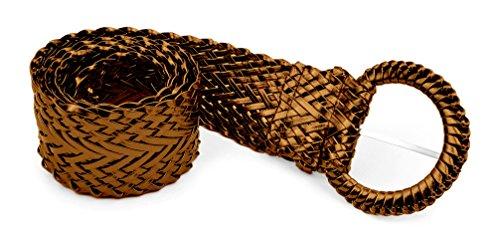 (Belle Donne - Women's Braided Belt Trendy Bonded Leather Belt Dress Belts - Bronze/Medium)