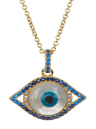 Gold Plated Evil Eye Necklace – 14K Gold Plated Cubic Zirconia Imitation Mother of Pearl Evil Eye with a Spring (Cubic Zirconia Mother Of Pearl Necklace)