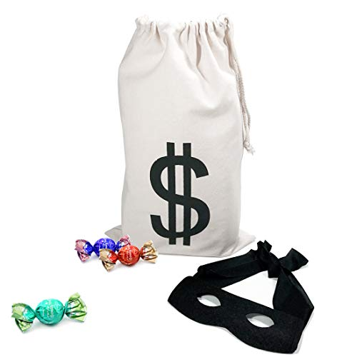 (PAUBOLI Robber Costume Black Eye Mask+ Canvas Drawstring Bag Dollar Sign Canvas Bag Halloween (11 x 17)