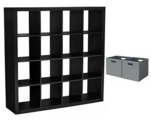 Better Homes and Gardens 16-Cube Organizer Solid Black with Open Slot Storage Bins Set of 2 Gray
