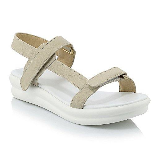 AllhqFashion Mujeres Velcro Puntera Abierta Mini Tacón Cuero de Vaca Sólido Sandalia Blanco