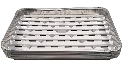 HOMEDECISION 340X230mm(13.3X9inch) Aluminum Foil Baking Barbecue Grilling Trays Pans 12-Pack