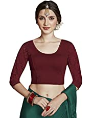 Crazy Bachat Women's Readymade Indian Designer 3/4 net Stretchable Blouse for Saree Crop Top