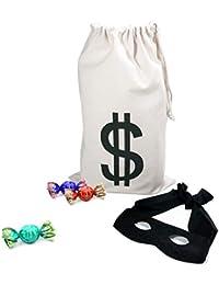 Robber Costume Black Eye Mask+ Canvas Drawstring Bag Dollar Sign Canvas Bag Halloween (11 x 17 inches)