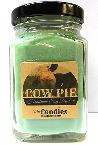 Cow Pie - Smells Like Fresh Cut Grass - 6 Ounce Victorian Square Glass Jar Soy Candle Sophisticated and Timeless