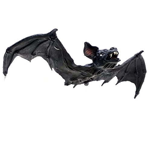 Outside Halloween Ideas (AZOWA 35.5'' Giant Scary Hanging Bat Halloween Best House Decorations Props Ideas (Black, 35.5''X 15.7'' ))