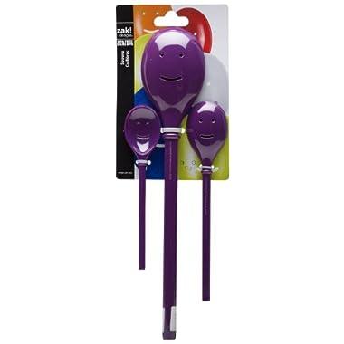 Zak Designs Happy Face 3-Piece Kitchen Spoon Set, Grape