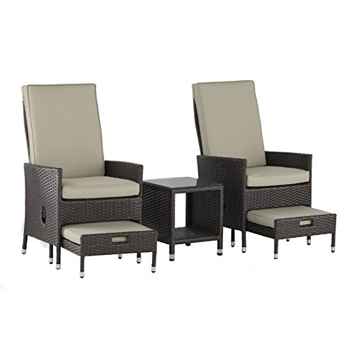 Serta Laguna Outdoor 5 Piece Reclining Set Brown Wicker, One Size, (Outdoor Reclining Ottoman)