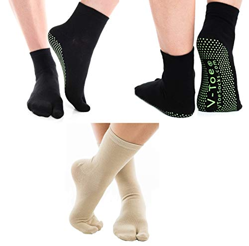 3 Pairs V-Toe Black Non-Skid and Khaki Casual Solid Flip-Flop Socks Two Toe Style Comfortable Tabi Socks ()