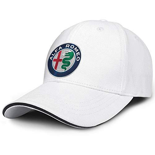 Trucker Hat for Men Women Alfa-Romeo-Logo- All Cotton Snapback Adjustable White Cap