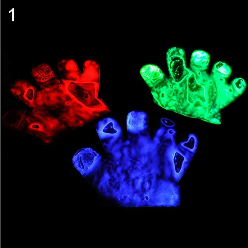 (NarutoSak 1Pc Colorful LED Flashing Skeleton Werewolf Gloves Party Props Joke Prank Toy, for Christmas Halloween April Fools Day Party)